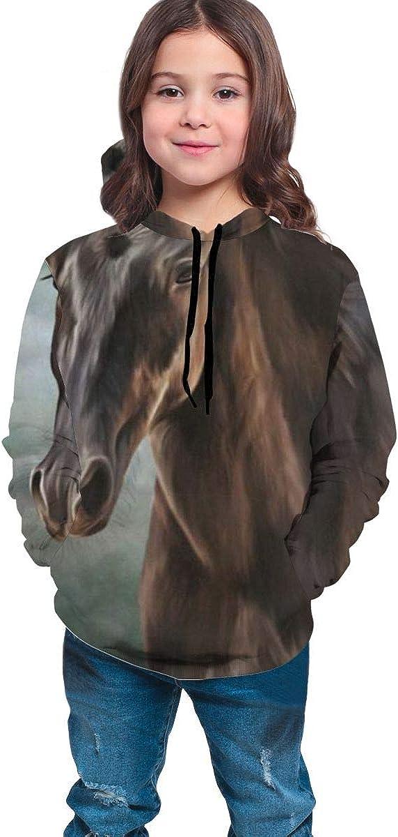 Lichenran Horse Portrait Unisex Pullover Teens Hoodie Hooded Sweatshirt Colorful