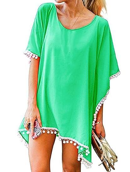 b1dd293b0e Amazon.com: Womens Chiffon Beach Bikini Cover Up Dress Swimsuit Swimwear  Coverups Tassel Pom Pom Trim Kaftan Beachwear Bathing Outdoors, Green: Home  & ...