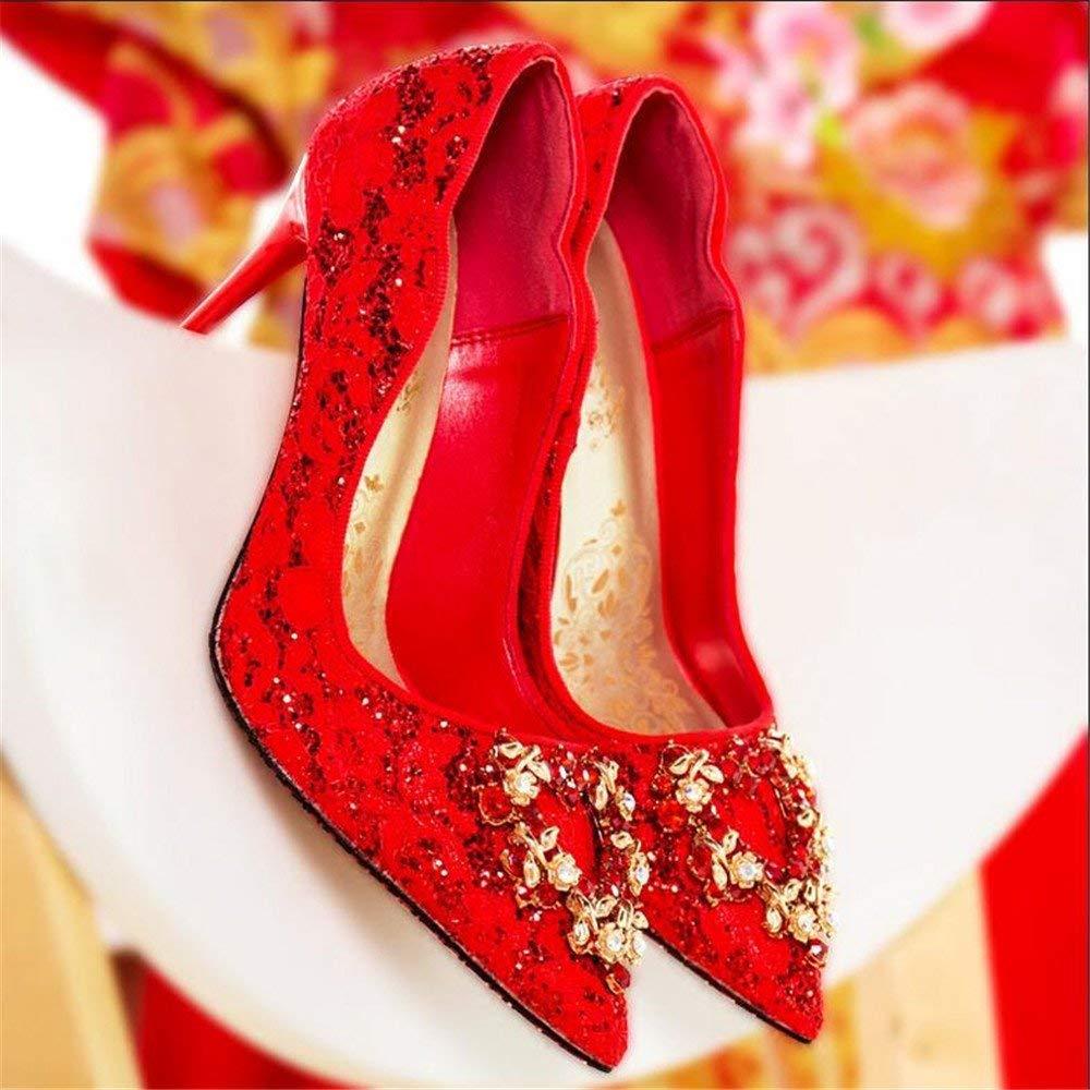 Eeayyygch Gericht Schuhe Rote Brautschuhe Brautschuhe Brautschuhe Hochzeit Schuhe weibliche Einzelne Schuhe Strass Spitze High Heels gut mit weißen Hochzeit Hochzeit Schuhe (Farbe   EU 40, Größe   Silber 8CM) 103628