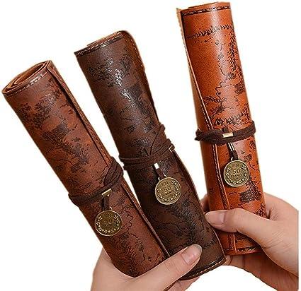 Firoya – Estuche de piel con diseño de piratas, para guardar bolígrafos, cosméticos, lápices, etc.: Amazon.es: Oficina y papelería