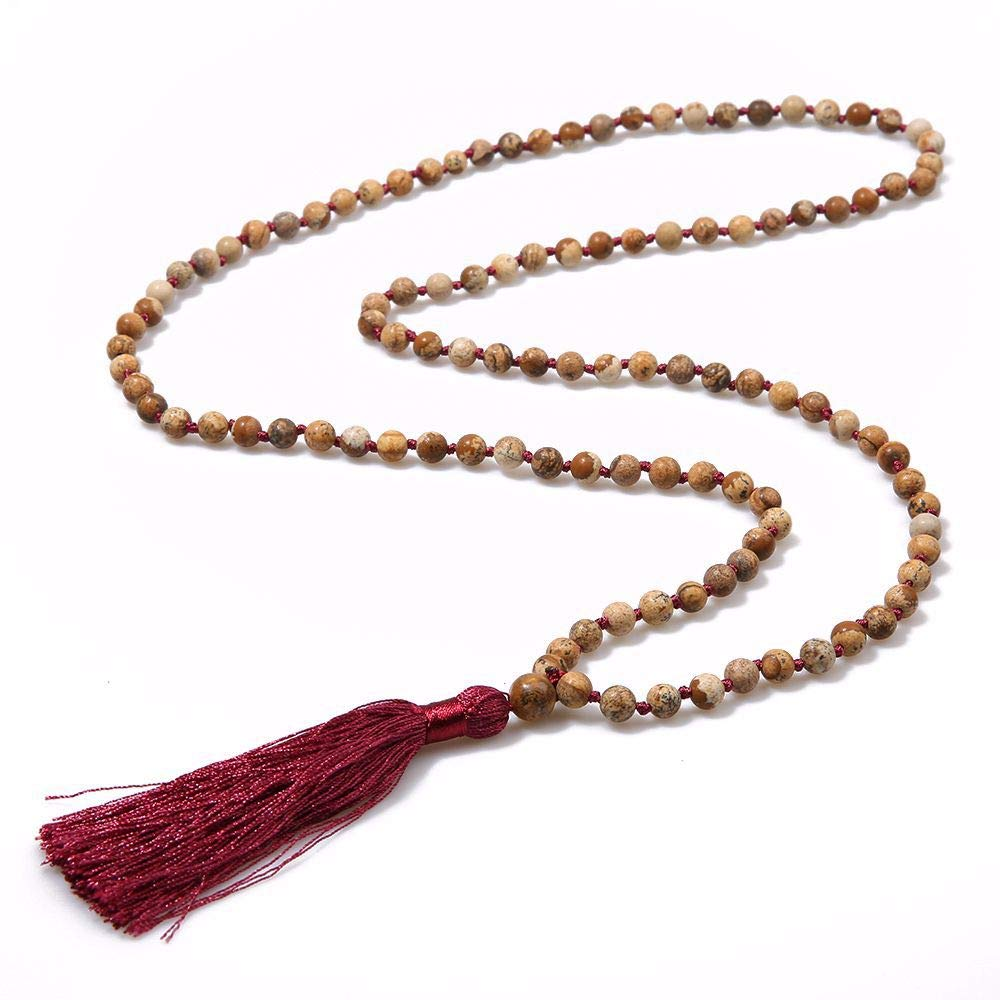 VEINTI+1 Boho Style Semi-Precious Stone Beads with Tassels Long Necklace Sweater Chain