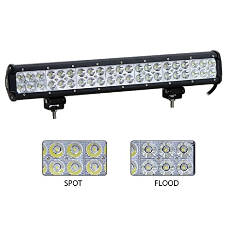 Amazon nilight 20 new 126w led flood spot combo driving fog nilight 20quot new 126w led flood spot combo driving fog light led light bar work aloadofball Choice Image