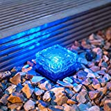 TechCode Solar Lights Outdoor, Solar Powered Outdoor LED Lights Waterproof Ground Crystal Glass Ice Brick Garden Lighting Landscape Security Lamp for Lawn Yard Deck Road Path Garden Decoration(Blue)