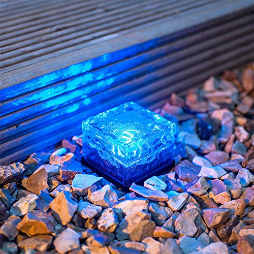 TechCode Solar Lights Outdoor, Solar Powered Outdoor LED Lights Waterproof Ground Crystal Glass Ice Brick Garden Lighting Landscape Security Lamp for Lawn Yard Deck Road Path Garden Decoration(Blue) by TechCode