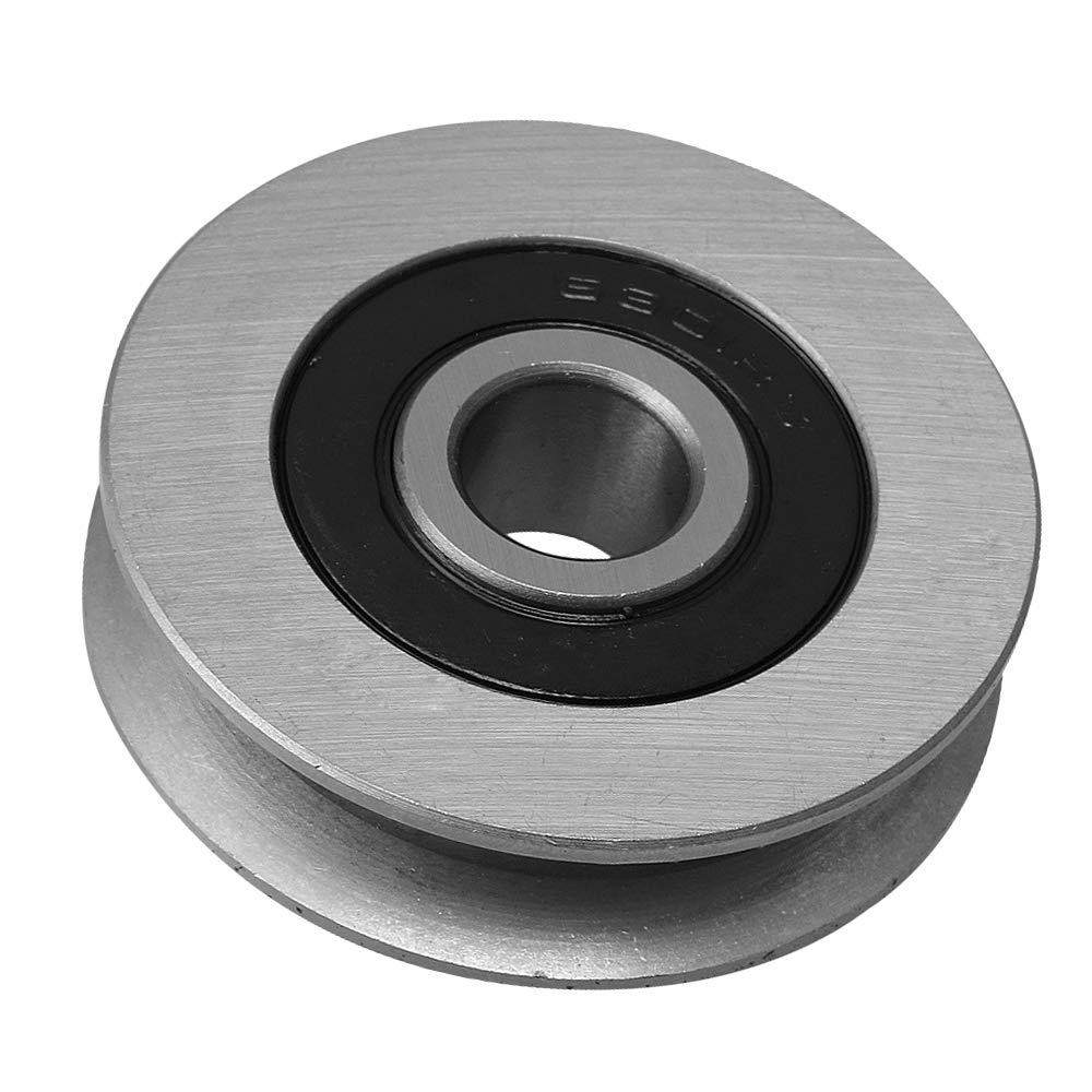 CNBTR 12x50x13MM Iron Bearing Steel Cable Pulley U-Shape Groove Wheel Bearing Idler Pulley Load-Bearing 512KG for Industry Equipment yqltd