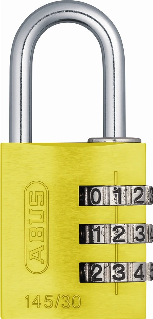 ABUS 145/30 C 30mm Body 3-Dial Resettable Combination Padlock, Yellow