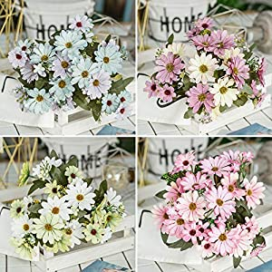 ywbtuechars Handmade Artificial Flower Fake Daisy Gerbera Artificial Flower Bud Cloth Flower Small Daisy Flower Home Living Room Table Vase Decoration Flower 1Pc 9 Branches 3