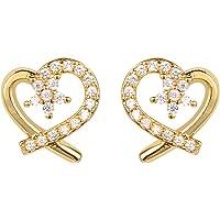ShineDew Aretes de corazón Heart CZ Stud Earrings Oro 18k