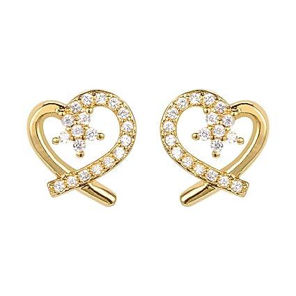 19a8397da83d ShineDew Aretes de corazón Heart CZ Stud Earrings Oro 18k  Amazon ...