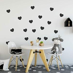"FOAL Hearts Wall Pattern Decal Vinyl Stickers (Black 4"" Set of 36)"