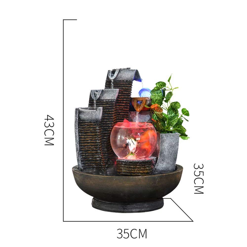 B   No Lights Indoor Water Feature Indoor Fountain with LED Lights and Magic Crystal Ball Home Decor Garden Ornaments Feng Shui Ornaments