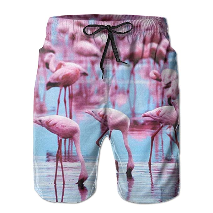 8f58ab7559 Flamingo Drink Water Men's Beach Pants Swimming Trunks Quick Drying Board  Short with Pockets