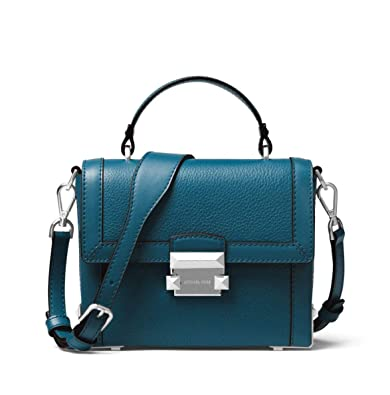 c06530f1e41 MICHAEL Michael Kors Jayne Small Pebbled Leather Trunk Bag in Luxe Teal:  Amazon.co.uk: Shoes & Bags