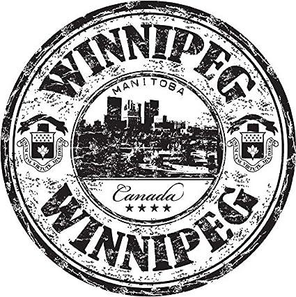 Winnipeg City Manitoba Canada Travel Grunge Stamp Sticker