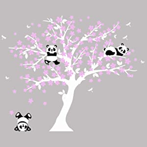 MAFENT Tree Wall Decals for Kids Room with Three Little Panda Bears Wall Stickers Nursery Wall Decals Room Decoration (White+Pink)