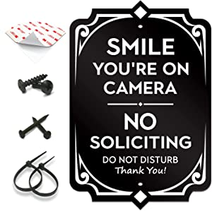 """SignSeries Smile You're on Camera - No Soliciting, Door Signs – Security, House Sign - 6.25"""" X 4.25"""" - Mounting Hardware Included, Easy Installation - Heavy-Duty and Weather-Resistant"""