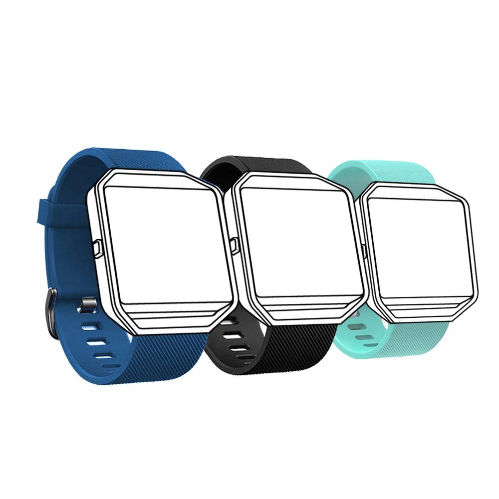 Fitbit Blazeバンド, Fitbit Blaze用スモールLarge、クラシック交換用シリコンストラップfor Fitbit Blaze/Fitbit Blaze Wristbands B072SXQYL4 teal+blue+black Small (5.5\