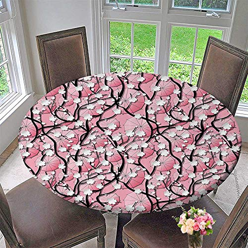 (Mikihome Modern Simple Round Tablecloth Sakura Tree Flowers Umbrellas and Curved Branches Romantic Blooms Artsy 55
