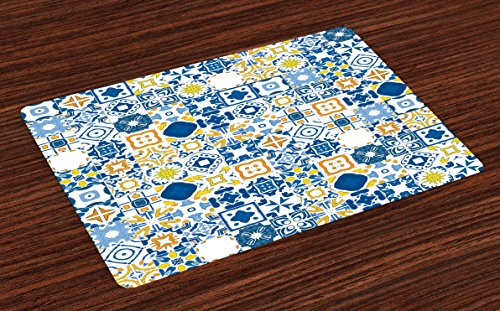 Ambesonne Yellow and Blue Place Mats Set of 4, Mosaic Portuguese Azulejo Mediterranean Arabesque Effect, Washable Fabric Placemats for Dining Room Kitchen Table Decor, Violet Blue Mustard (Mediterranean Blue Mosaic)