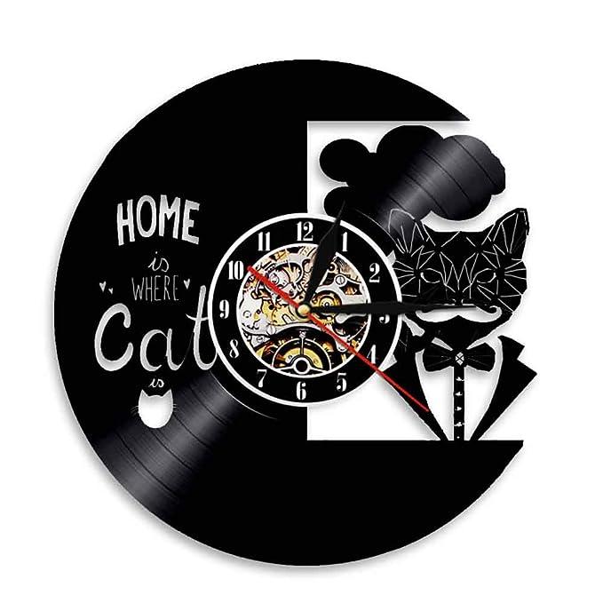 Caballero Gato Vintage LED Reloj de Pared Control Remoto ...