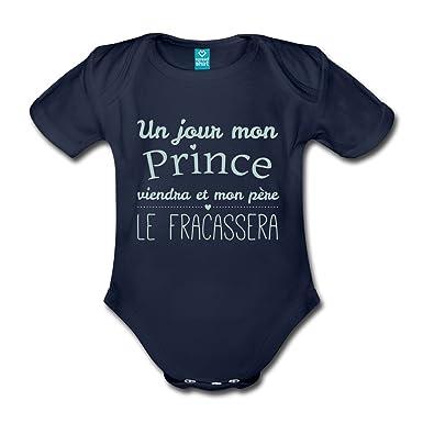 9b2b40c788c5d Spreadshirt Un Jour Mon Prince Viendra Body Bébé Bio Manches Courtes   Amazon.fr  Vêtements et accessoires