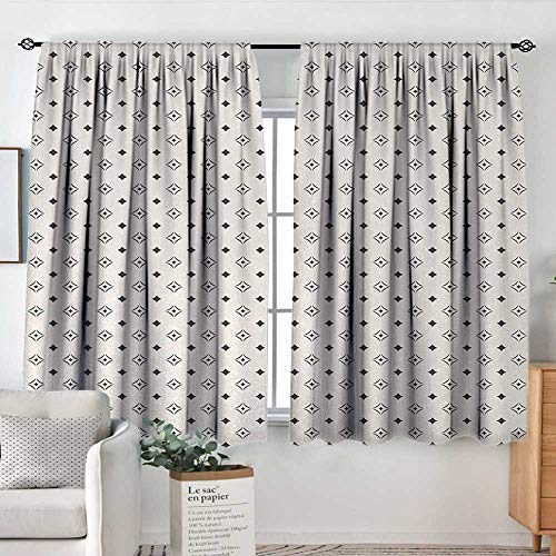 Theresa Dewey Decor Waterproof Curtains Geometric,Old Fashioned Wallpaper Design with Floral Like Geometrical Icons Art,Charcoal Grey Beige,Blackout Draperies for Bedroom Living Room 63