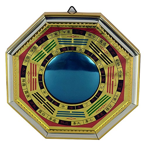 IndianStore4All Feng Shui Chinese Convex Vastu Bagua(Pa KUA) Mirror for Positive Energy | Wall/Door Decor for Protection 8 Inches Approx