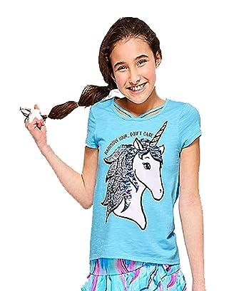 a8e41003b6c2 Amazon.com: Justice Tee Shirt Flip Sequins Criss Cross Rainbow Hair ...