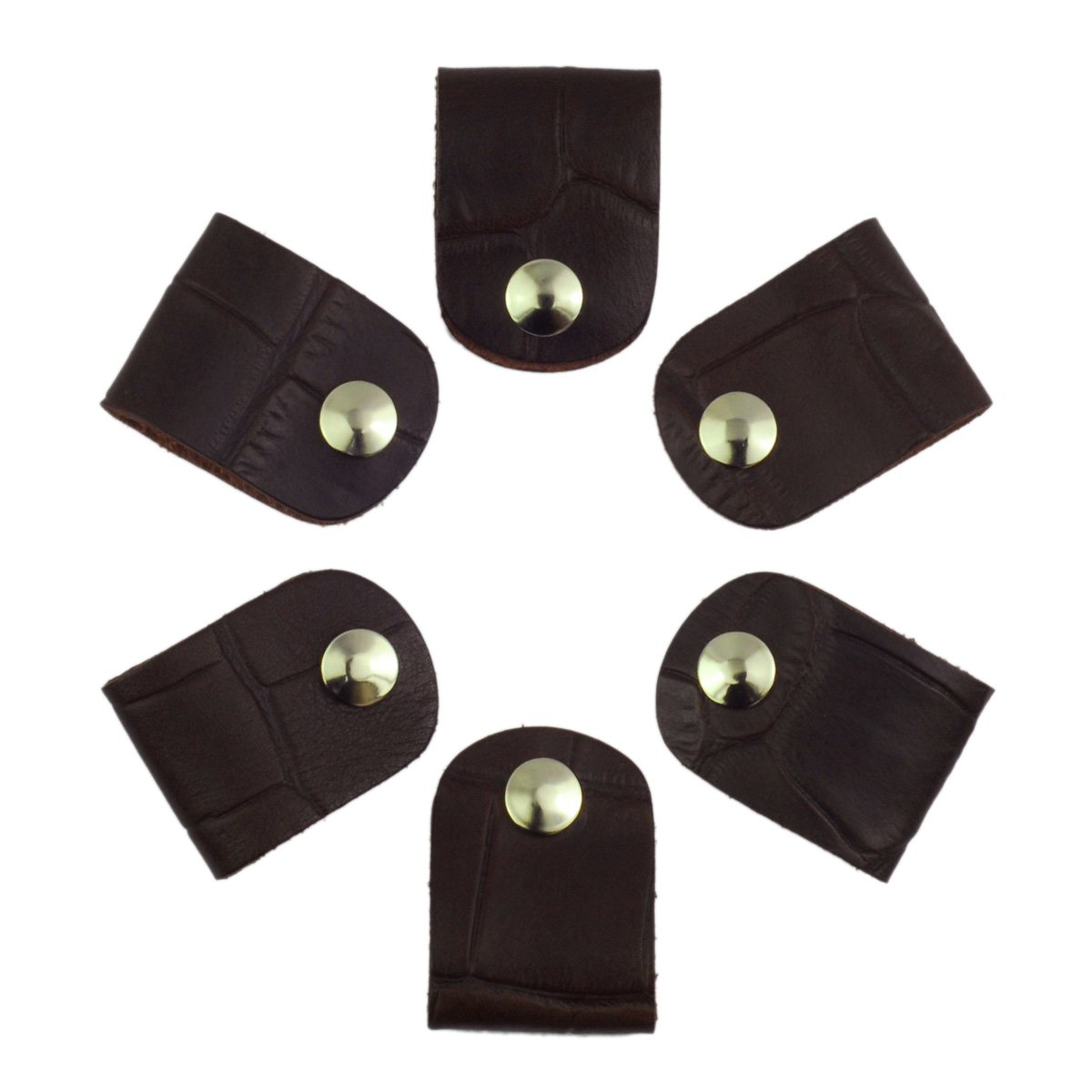 Leather Cord Orangizer Clips Set, 6 Snap Closed Pieces, Brown