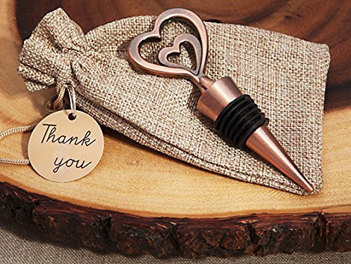 Cassiani Collection Copper Vintage Two Hearts Become One Bottle Stopper (25) by Cassiani