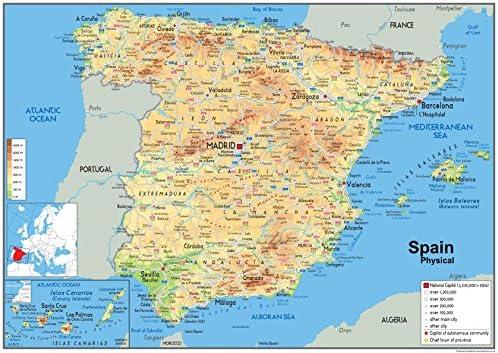Cartina Rilievi Spagna.Spagna Mappa Fisica Carta Plastificata A1 Misura 59 4 X 84 1 Cm Amazon It Cancelleria E Prodotti Per Ufficio