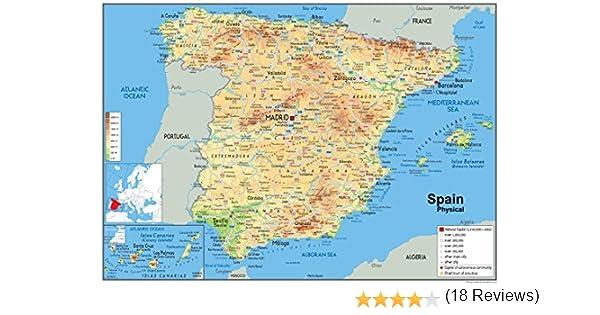Mapa físico de España, laminado de papel, tamaño A1, 59,4 x 84,1 ...