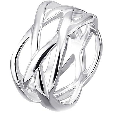 5c49182017c8 BODYA bañado en plata para mujer anillos boda bandas moderno ondulado  alambre malla hueca anillo Floral Anillo de dedo  Amazon.es  Joyería