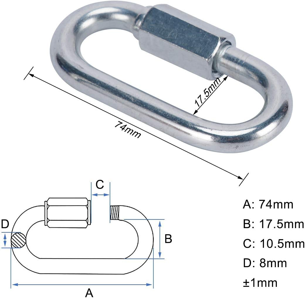 OWAYOTO Quick Link Locking Carabiner Chain Quick Links Connector Chain Repair Links M8 5//16 inch 4pcs