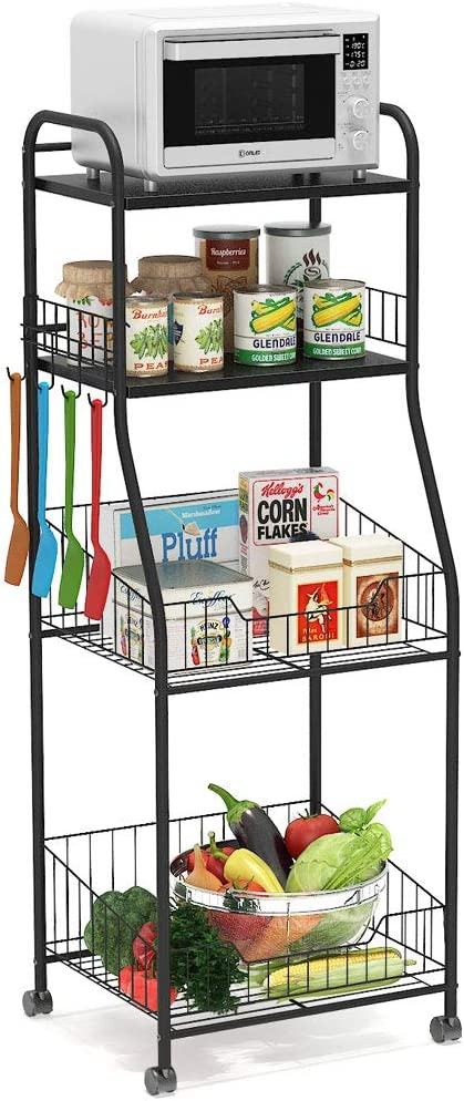 Tribesigns 4-Tier Kitchen Baker s Rack, Rolling Storage Cart on Wheels for Small Microwave Oven, Free Standing Kitchen Wire Shelving with Hooks, Black