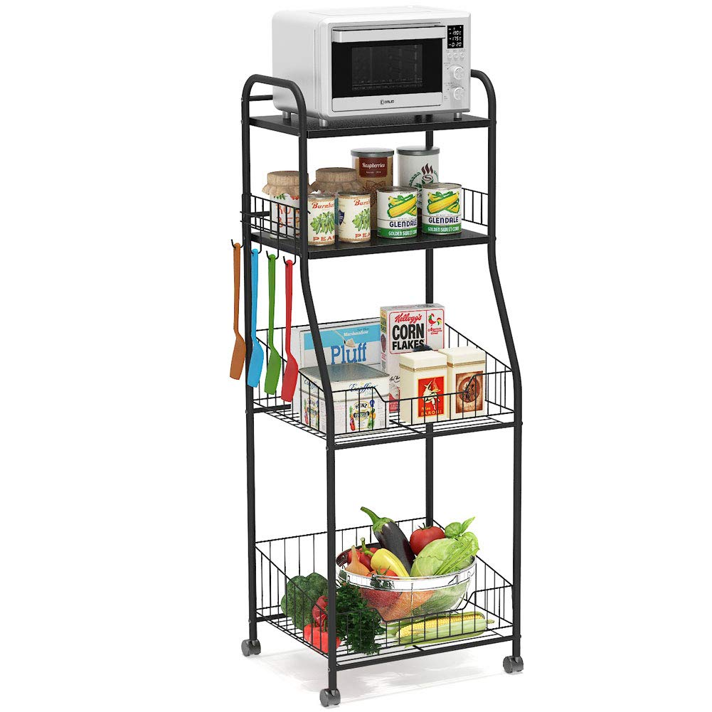 Tribesigns 4-Tier Kitchen Baker's Rack, Rolling Storage Cart on Wheels for Small Microwave Oven, Free Standing Kitchen Wire Shelving with Hooks, Black by Tribesigns