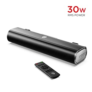 Soundbar, Bomaker 16-Inch 2.0 TV and Computer Speaker with 105dB / 30W, 3D Surround Sound, Wireless Bluetooth 5.0, Optical/Aux/USB, 3 EQ Modes, for PC TV Cellphone Desktop Computer Tablets Laptop