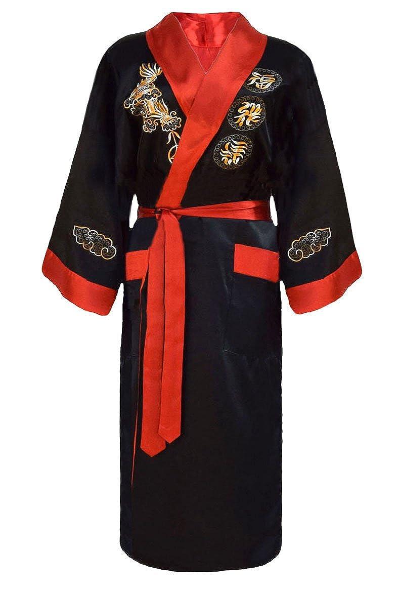 Herren japanischer Morgenmantel Kimono umkehrbar schwarz und rot