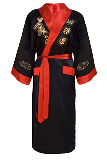 Men's Gown Japanese Dressing Robe Embroidered Kimono Reversible Sleepwear F1TJKcl