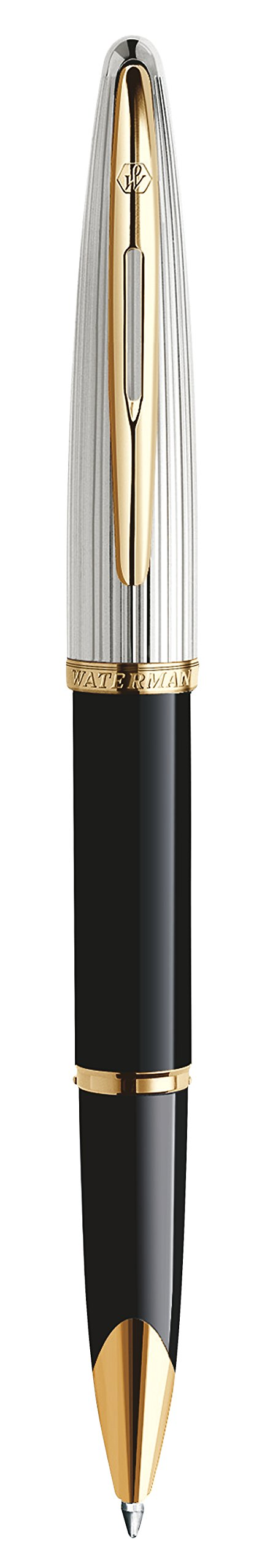 Waterman Carène Deluxe Rollerball Pen, Gloss Black & Silver Plated with 23k Gold Clip, Fine Point with Black Ink Cartridge, Gift Box by Waterman (Image #4)