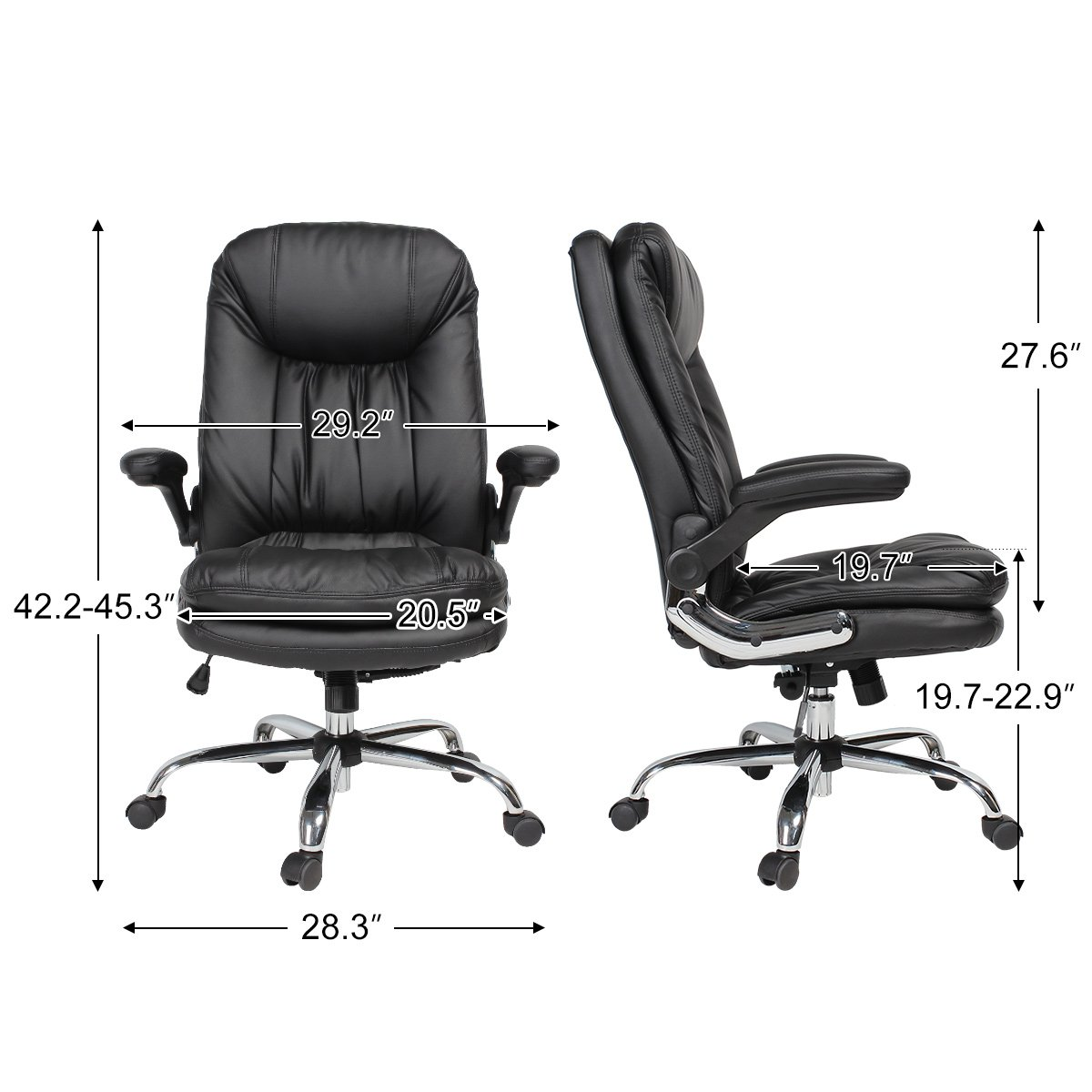 YAMASORO Ergonomic Home Office Chair with Flip-Up Arms and Comfy Headrest PU Leather High-Back Computer Desk Chair Big and Tall Capacity 330lbs Black by YAMASORO (Image #4)
