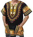 Raan Pah Muang RaanPahMuang Unisex Bright Africa Black Dashiki Cotton Plus Size Shirt, XXX-Large, Yellow and Orange
