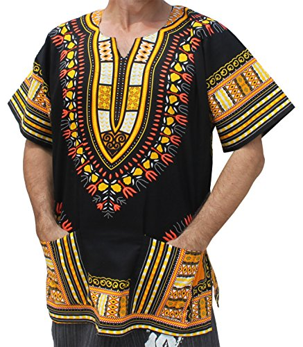 RaanPahMuang Brand Unisex Bright African Black Dashiki Cotton Shirt, Large, Yellow and Orange -