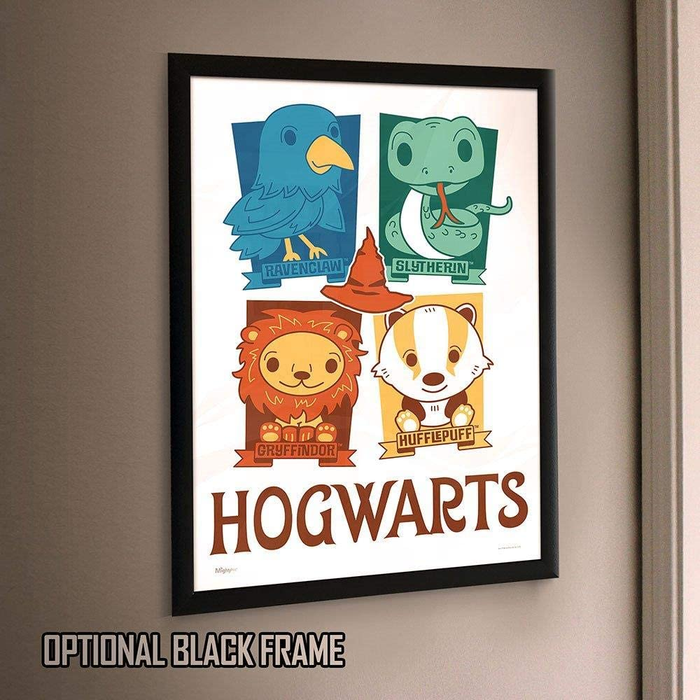 Amazon Com Mightyprint Harry Potter Hogwarts Houses Ravenclaw Slytherin Gryffindor Hufflepuff Chibi Cartoon Durable 17 X 24 Wall Art Not Made Of Paper Officially Licensed Collectible Posters Prints
