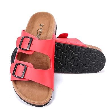 0673ee18fe8b63 Seranoma Women s Comfort Double Buckle Indoor Outdoor Cork Sandal Flat Slide  Red