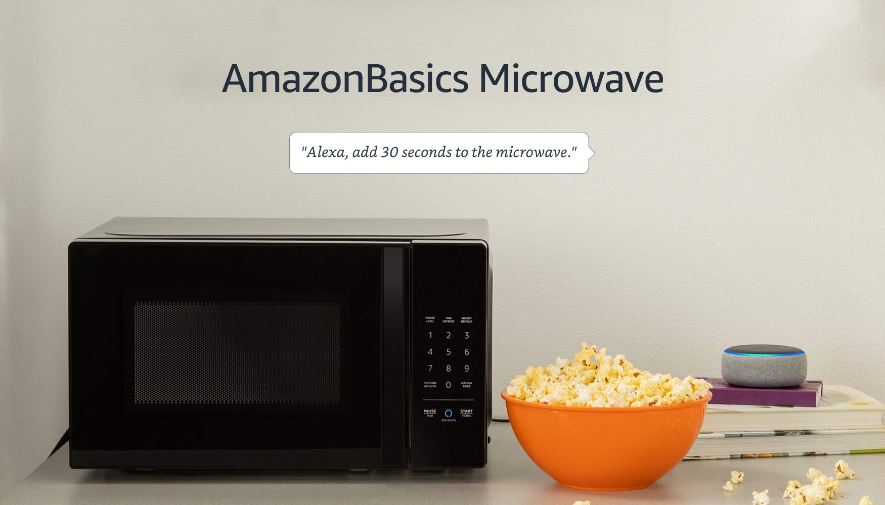 Amazon Basics Microwave bundle with Echo Dot (3rd Gen) - Charcoal 8 Now it's easier to defrost vegetables, make popcorn, cook potatoes, and reheat rice. With an Echo device (not included), quick-cook voice presets and a simplified keypad let you just ask Alexa to start microwaving. Automatically reorder popcorn when you run low and save 10% on popcorn orders-enabled by Amazon Dash Replenishment technology Compact size saves counter space, plus 10 power levels, a kitchen timer, a child lock, and a turntable.