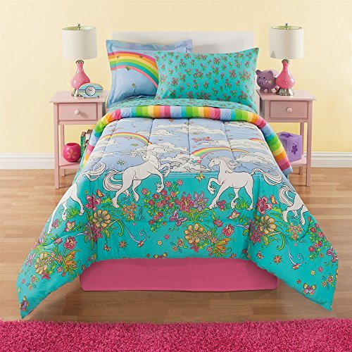 Price comparison product image 6 Piece Girls Unicorn Rainbow Comforter Set Twin, Reversible Bedding, Beautiful Allover Flowers and Floral Pattern, Vibrant Rainbows with Clouds, Pink Orange Yellow Blue Aqua Green