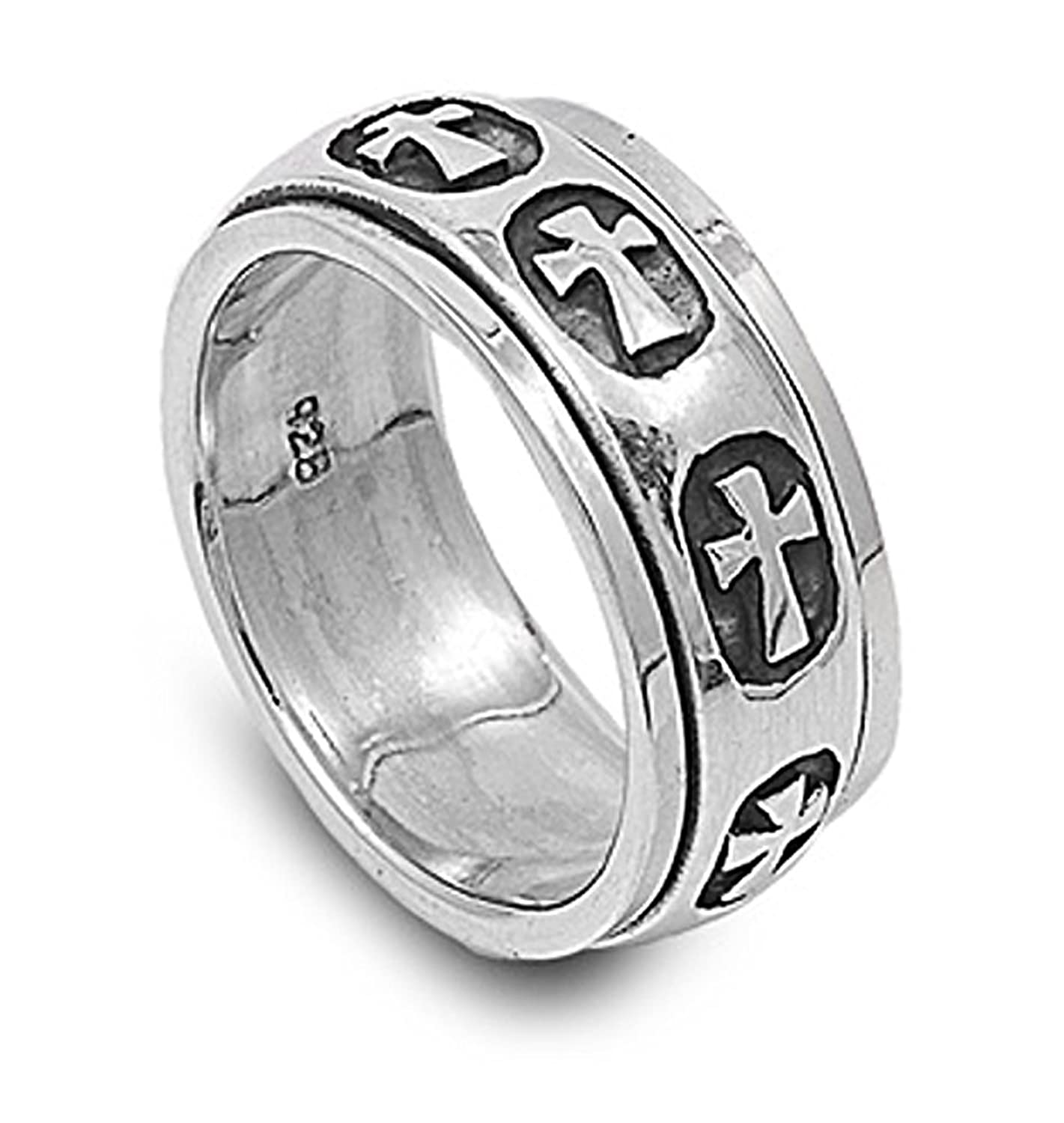 Sterling Silver Plain Polished Cross Pattern Spinner Ring