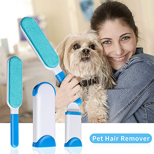 Reusable Pet Fur Remover, Sunba Youth Hair& LintRemover, PetHairRemover with Self-cleaning Base for Clothing, Furniture, Home…