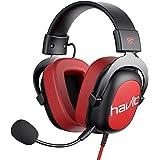 Headset Gaming estéreos metalizados com entrada Jack auxiliar 3,5 mm para PS4 HV-H2002D vermelho